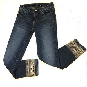 WHBM Straight Crop Jeans w/ Gold Embroidery